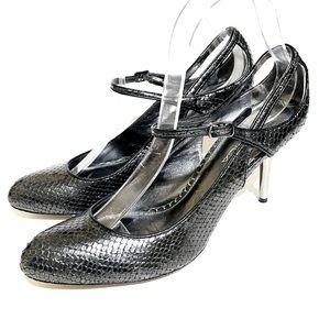 Via Spiga Gray Gun Metal Snakeskin Sandals 8M